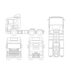 truck tractor or semi-trailer in outline vector image