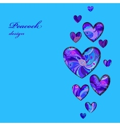 Valentine hearts card with peacock feathers vector image