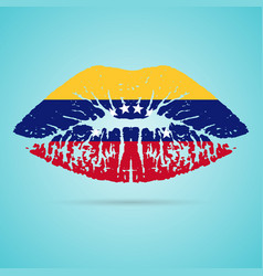 Venezuela flag lipstick on the lips isolated on a vector