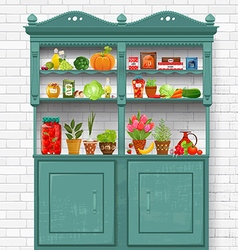 vintage cupboard with delicious organic food and vector image