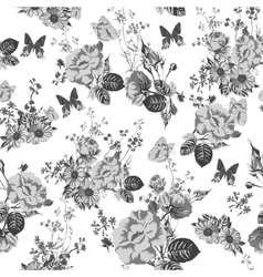 Vintage monochrome roses pattern vector