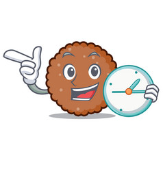 with clock chocolate biscuit character cartoon vector image