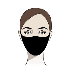 Woman wearing black disposable medical surgical vector