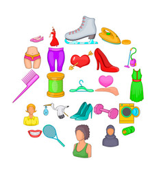 women clothes icons set cartoon style vector image