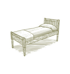 woodcut vintage bed vector image