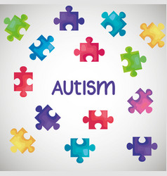 world autism day with puzzle pieces vector image