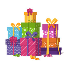Wrapped gift boxes pile isolated on white vector