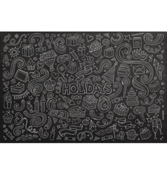 Chalkboard set of holidays objects vector image