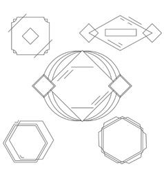 Mono line frames elegant design elements badges vector image