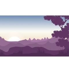 Silhouette of tree with mountain backgrounds vector image