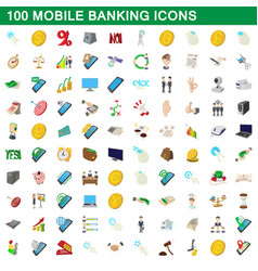 100 mobile banking icons set cartoon style vector image vector image