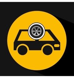 cartoon van car wheel icon design vector image vector image