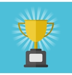 Gold winner cup on blue background vector image vector image