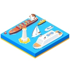 Isometric sea ships set vector image vector image