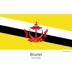 National flag of Brunei with correct proportions vector image