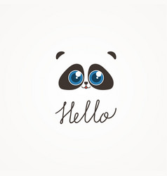panda symbol smiling bear lime raccoon vector image