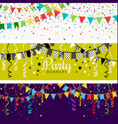 Party banners with garland of colour flags and vector