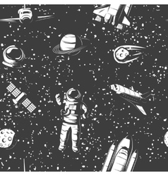 Space Monochrome Seamless Pattern vector image