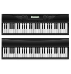 two realistic synthesizer of designer on white vector image