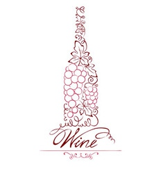 Abstract floral red wine bottle vector image vector image