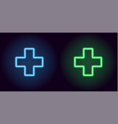 blue and green neon medical cross vector image