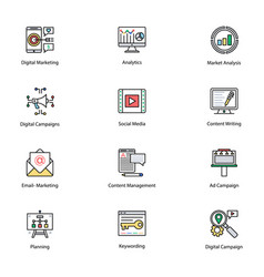 colored icons of internet and digital marketing vector image vector image