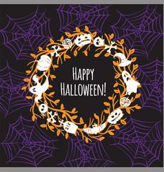 Greeting card for halloween wreath vector