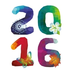 New year 2016Polygons numbericonsSquare vector image