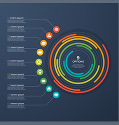 presentation infographic circle chart 9 options vector image vector image