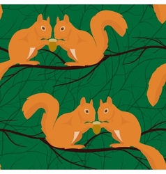 Seamless pattern with squirrels pairs vector image vector image