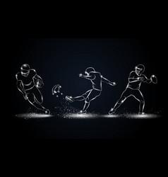 american football players set vector image