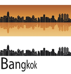 Bangkok skyline in orange background vector image vector image
