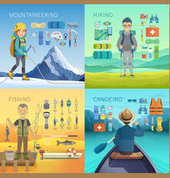 camping hiking mountaineering fishing canoeing vector image