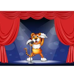 Cartoon Performing Tiger vector image vector image