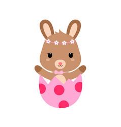 cute cartoon bunny inside cracked easter egg vector image