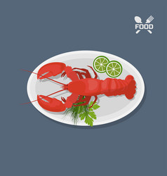 icon of lobster with lime on a plate top view vector image