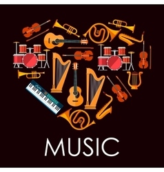 Love music heart made up of musical instruments vector image vector image