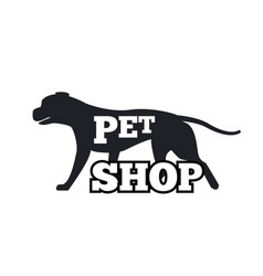 Pet shop logotype design canine animal silhouette vector
