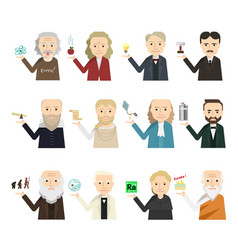 12 famous scientist icon set vector image