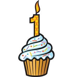 1st Birthday Cupcake vector image