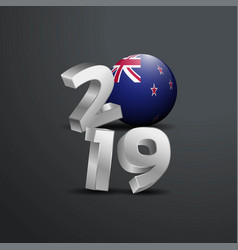 2019 grey typography with new zealand flag happy vector