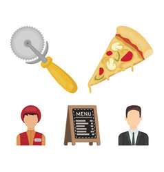 A pizza cutter a slice a menu in a pizzeria a vector