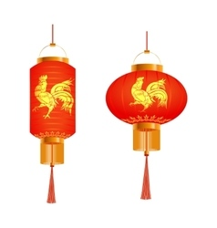 A set of orange Chinese lanterns with a pattern vector