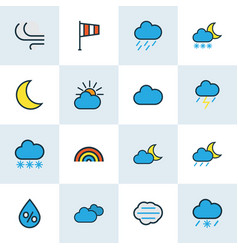 Air icons colored line set with freeze flag vector