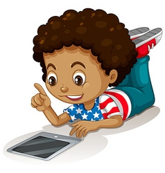 American boy using computer tablet vector image