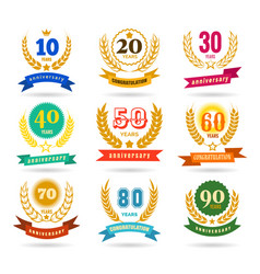 Anniversary numbers design collection vector
