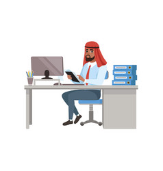 arabic businessman character sitting at office vector image