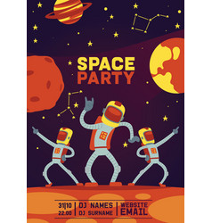 astronauts party cosmonaut spaceman vector image