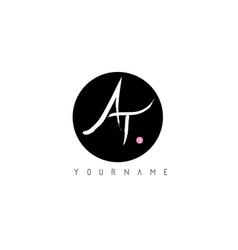 at handwritten brush letter logo design with vector image