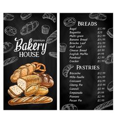 bakery house chalkboard sketch menu vector image